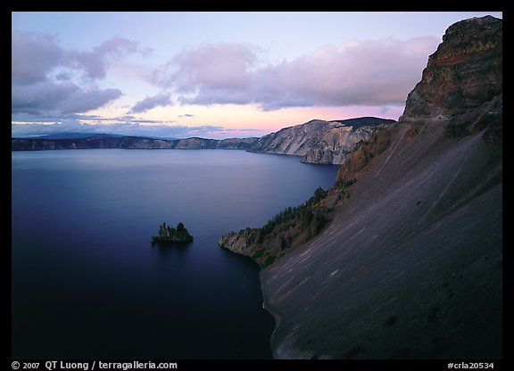 Caldera slopes and Phantom ship at dusk. Crater Lake National Park (color)