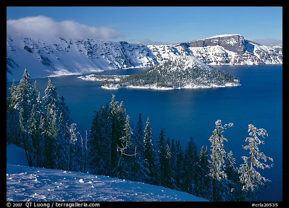 Lake and Wizard Island in winter, sunny afternoon. Crater Lake National Park (color)