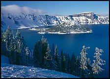 Lake and Wizard Island in winter, sunny afternoon. Crater Lake National Park ( color)
