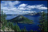 Lake and Wizard Island, afternoon. Crater Lake National Park, Oregon, USA. (color)