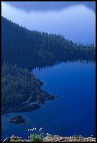 Wizard Island and Governor Bay. Crater Lake National Park, Oregon, USA.