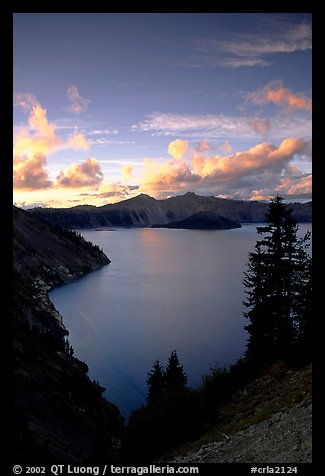 View towards  West from Sun Notch, sunset. Crater Lake National Park, Oregon, USA.