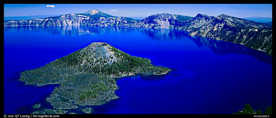 Blue lake and Wizard Island, morning. Crater Lake National Park (color)