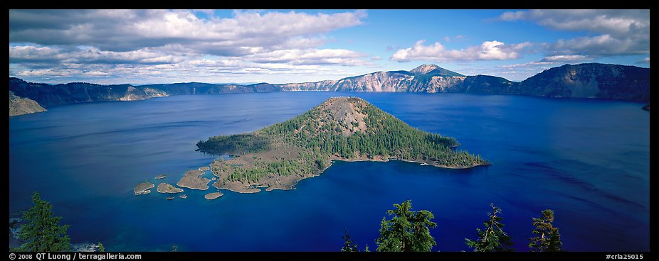 Lake and Wizard Island, afternoon. Crater Lake National Park (color)