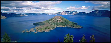 Lake and Wizard Island, afternoon. Crater Lake National Park (Panoramic color)