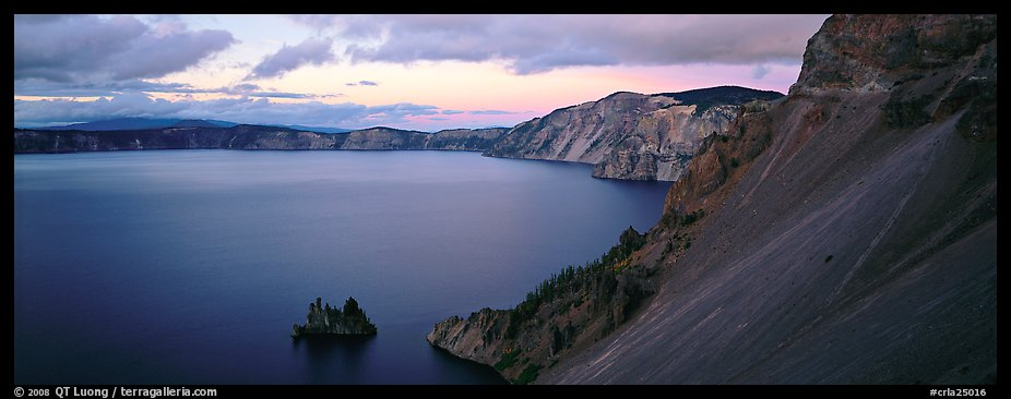 Lake and cliffs, evening. Crater Lake National Park (color)