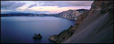 Lake and cliffs, evening. Crater Lake National Park, Oregon, USA.