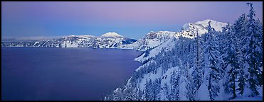 Pristine winter dusk scene. Crater Lake National Park (Panoramic color)