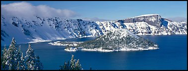 Wizard Island in winter. Crater Lake National Park, Oregon, USA.