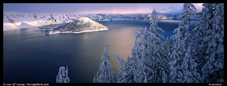 Light on the lake, winter sunrise. Crater Lake National Park (color)