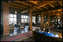 Main lobby of Crater Lake Lodge. Crater Lake National Park, Oregon, USA.