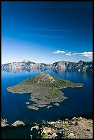 Skell Channel and Wizard Island. Crater Lake National Park, Oregon, USA. (color)