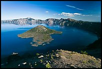 Crater Lake and Wizard Island, afternoon. Crater Lake National Park, Oregon, USA.