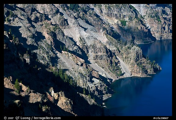 Volcanic cliffs below Hillman Peak, afternoon. Crater Lake National Park (color)
