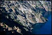 Volcanic cliffs below Hillman Peak, afternoon. Crater Lake National Park, Oregon, USA.