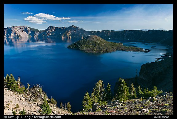 Wizard Island, Mount Scott, and Crater Lake. Crater Lake National Park (color)