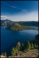 Wizard Island, Crater Lake, and Mount Scott. Crater Lake National Park, Oregon, USA.