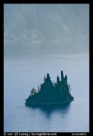 Phantom ship and cliffs. Crater Lake National Park (color)