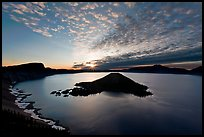 Crater Lake and Wizard Island, sunrise. Crater Lake National Park, Oregon, USA. (color)
