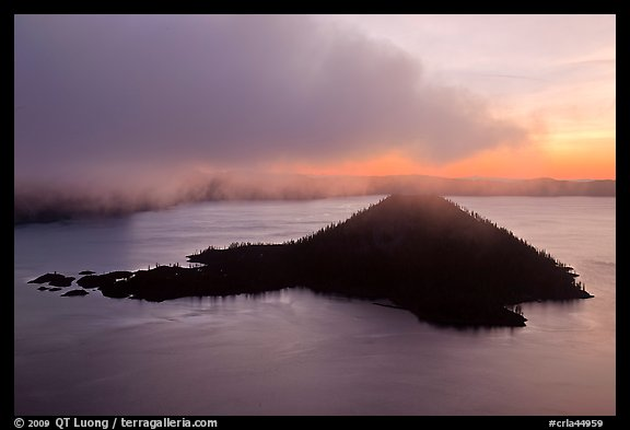 Cloud above Wizard Island at dawn. Crater Lake National Park (color)