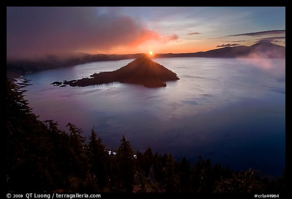 Wide view with sunrise and clouds. Crater Lake National Park (color)