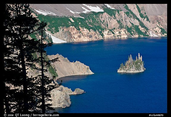 Island called Phantom Ship and crater walls. Crater Lake National Park (color)