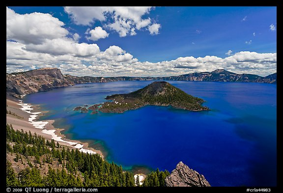 Deep blue lake and clouds. Crater Lake National Park (color)