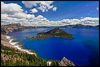 Deep blue lake and clouds. Crater Lake National Park, Oregon, USA.
