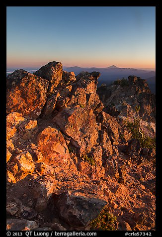 Mount Scott South summit ridge at sunset. Crater Lake National Park (color)