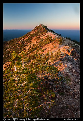 Mount Scott summit and fire lookout at sunset. Crater Lake National Park (color)