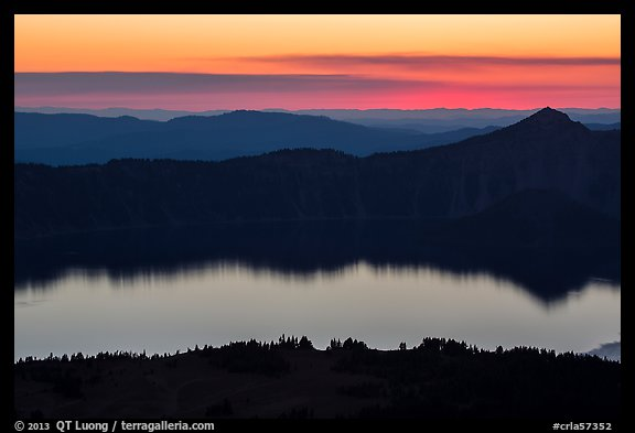 Crater Lake, Llao Rock, and ridges at sunset. Crater Lake National Park (color)