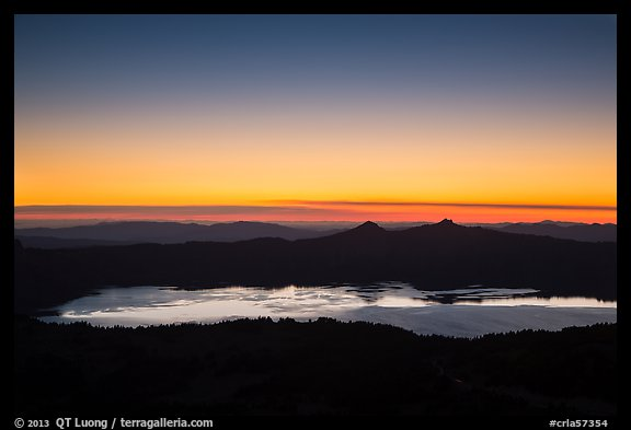 Crater Lake and western sky after sunset. Crater Lake National Park (color)
