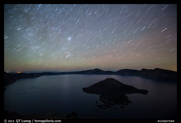 Star trails over Crater Lake and Wizard Island. Crater Lake National Park (color)