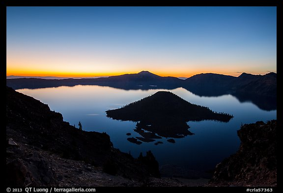 Wizard Island and Crater Lake at dawn. Crater Lake National Park (color)