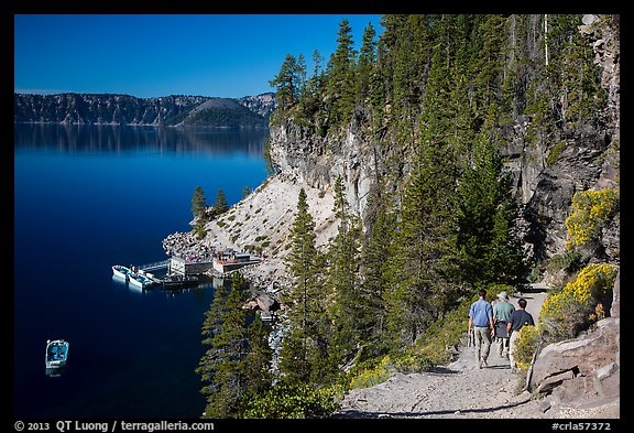 Cleetwood Cove trail and deck. Crater Lake National Park (color)