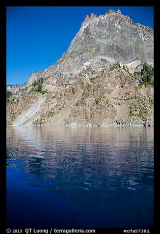 Llao Rock and reflection. Crater Lake National Park (color)