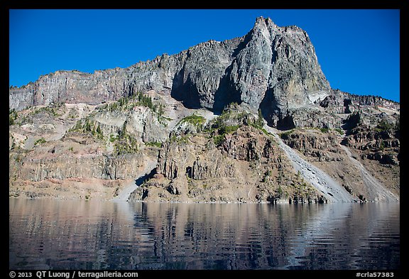Llao Rock seen from the lake. Crater Lake National Park (color)