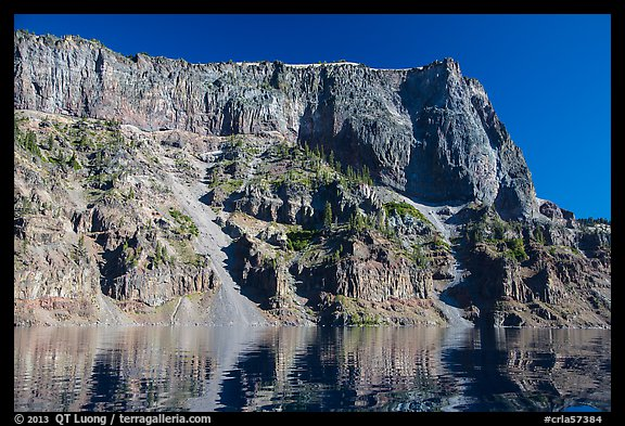 Tall cliffs of Llao Rock and Llao Bay. Crater Lake National Park (color)