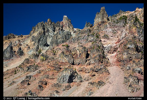 Tall volcanic dikes. Crater Lake National Park (color)