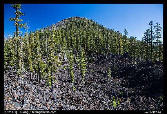 Hardened lava field and cinder cone, Wizard Island. Crater Lake National Park (color)