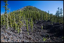 Hardened lava field and cinder cone, Wizard Island. Crater Lake National Park ( color)