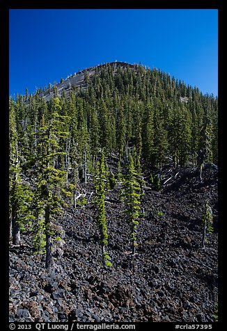 Lava rocks and cinder cone, Wizard Island. Crater Lake National Park (color)