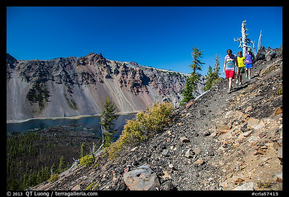 Hikers near Wizard Island summit. Crater Lake National Park (color)