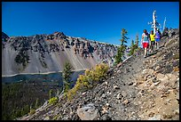 Hikers near Wizard Island summit. Crater Lake National Park ( color)