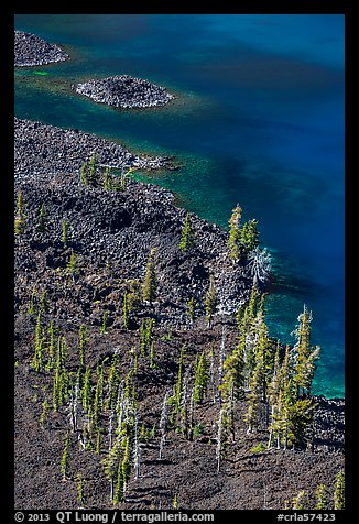 Volcanic shore of Wizard Island seen above. Crater Lake National Park (color)