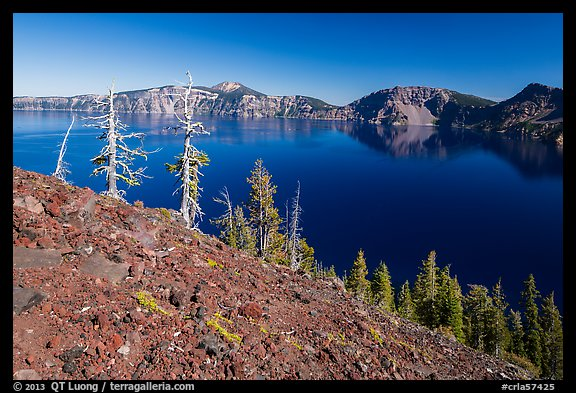 Red cinders and ash on Wizard Island. Crater Lake National Park (color)