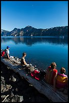 Visitors waiting for boat pick-up, Wizard Island. Crater Lake National Park ( color)