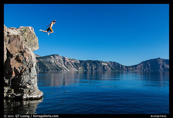 Twenty-five foot jump into more than eighty feet of water. Crater Lake National Park (color)