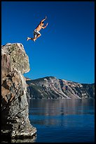 Cliff jumping, Cleetwood Cove. Crater Lake National Park ( color)