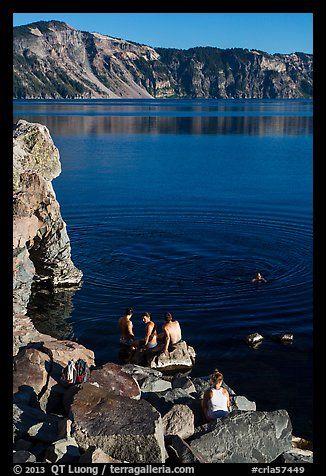 People on lakeshore, Cleetwood Cove. Crater Lake National Park (color)